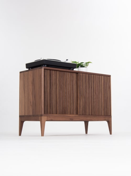 Furniture by Mo Woodwork seen at Stalowa Wola, Stalowa Wola - TONN Walnut record player stand, vinyl record storage with sliding doors