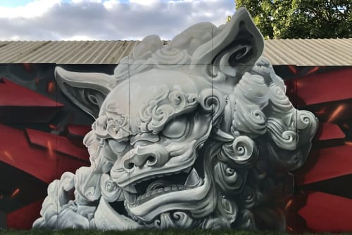 Murals by Art of Alijens seen at Entrance East, Roskilde - Foo dog
