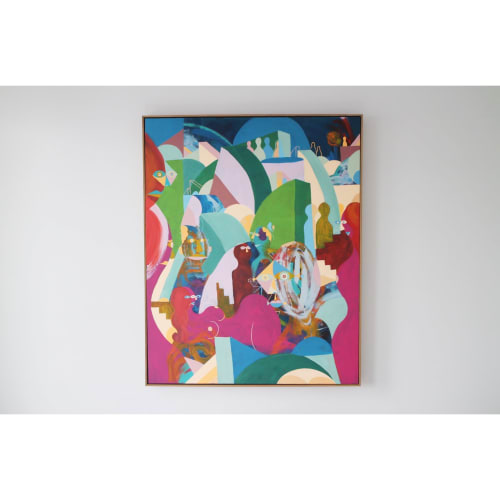Paintings by Unwell Bunny / Ed Bechervaise seen at Private Residence, Melbourne - Mykonos