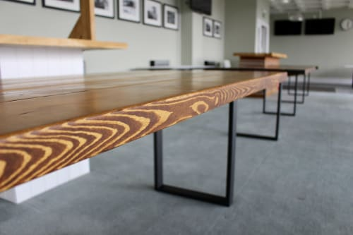 Tables by New Forest Rustic Furniture seen at Goodwood Motor Circuit, Chichester - Rustic Industrial Dining Table