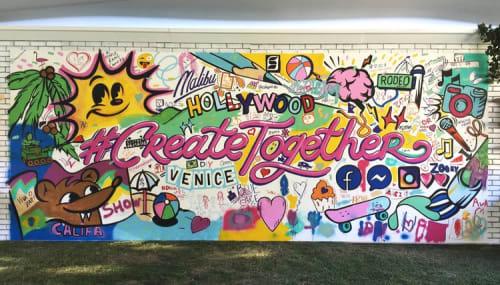 """Murals by Nina Palomba - Nina's World seen at Malibu Rancho Road, Agoura Hills - Facebook """"Create Together"""" Campaign Mural"""