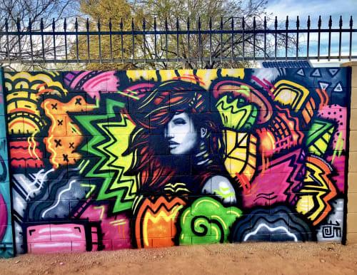 """Street Murals by Alloyius Mcilwaine Art seen at 1205 E Oak St, Phoenix - Oak Street Mural - """"Jedan Freestyle"""""""