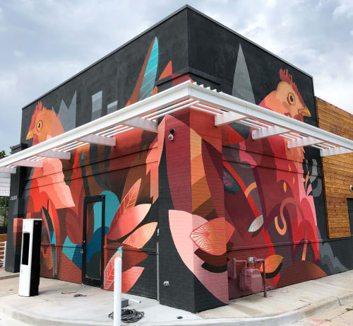 Murals by Pedro Barrios Art seen at Birdcall, Denver - Mural at Birdcall