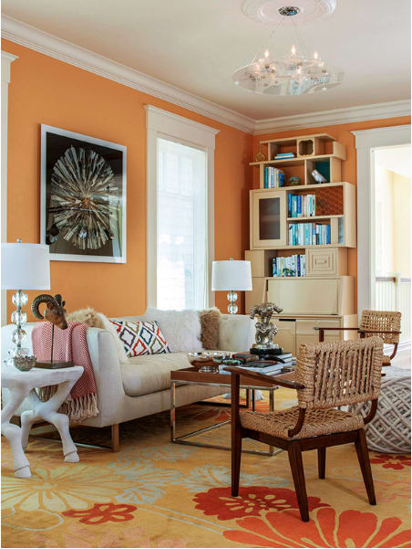 Rugs by Emma Gardner Design, LLC seen at Private Residence, San Francisco, CA, San Francisco - Flowers on Water (Orange, Blue & Gold)