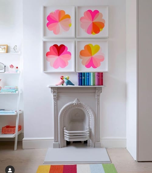 Paintings by Hannah Carvell seen at Private Residence, London - Hannah Carvell Screen Print, Large Hearts & Flowers