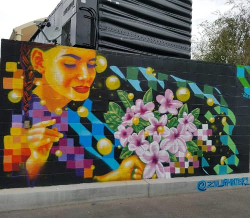 "Street Murals by Zulu Painter seen at Carson Avenue, Las Vegas - ""Floral Surprise"" Mural"
