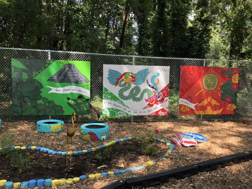 Murals by Patl.sv seen at Colony South Mobile Home Park, Atlanta - RESPLENDENT LEGEND OF QUETZALCOATL