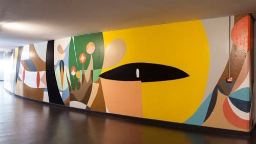 Murals by Hernan Paganini seen at Usina del Arte, La Boca - Interior Mural
