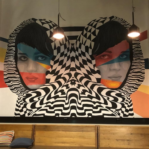Murals by Medianeras seen at Melbourne Central YHA, Melbourne - Indoor Mural