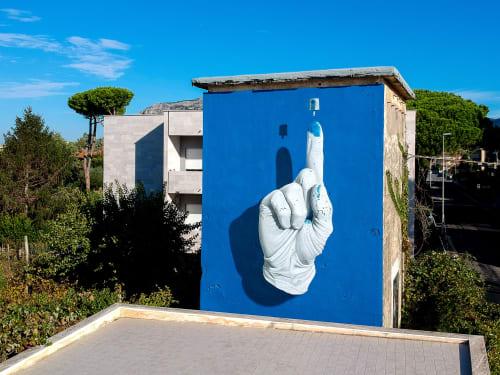 "Street Murals by Nuno Viegas seen at Via Toscana, Terracina - ""Glove x NY Fat Cap I"""