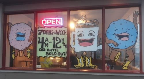 Murals by Angry Tooth seen at The Happy Donut, Myrtle Creek - Window Illustration Art