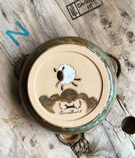 Tableware by DeerField Pottery & Art Studio seen at Private Residence, Port Stanley - Happy Sheep Yarn Bowl & Mug Set