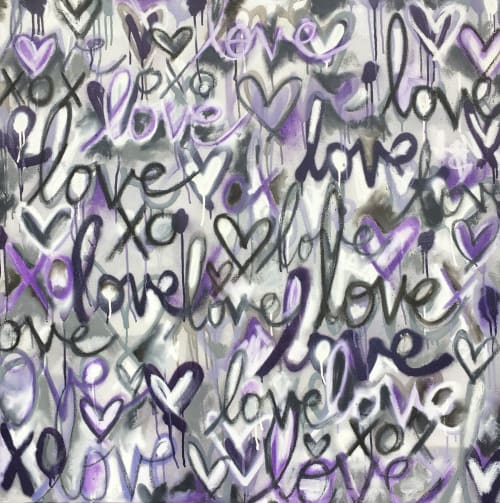 Paintings by Jessie Rubin Studio seen at Private Residence - Purple Lovers