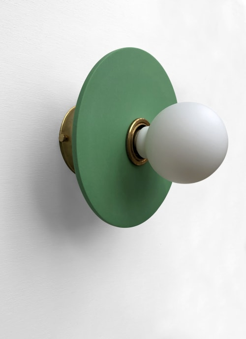 Sconces by What The Mood seen at Private Residence, Bristol - Full Moon - Green | Brass Wall Light