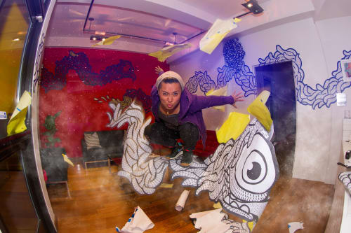 Murals by BoogieREZ seen at Nord Anglia International School, New York, New York - Dragon
