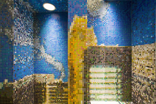 Public Mosaics by Ross Lewis Studio seen at Pioneer Academy, Queens - Urban Intersections, 2008, 24 x 80 FT, 500,000 glass and ceramic tiles, powder coated aluminum 1/8 gauge, epoxy enamel paint, marble