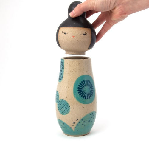 Sculptures by Jennifer Fujimoto seen at Creator's Studio, Seattle - Kokeshi-Inspired Ceramic Doll in Stoneware