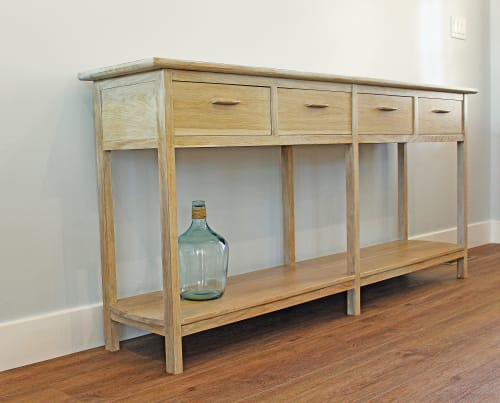 Tables by Justin Vancil Woodworking seen at Justin Vancil Woodworking, Carterville - Console table made from white oak with white wash finish