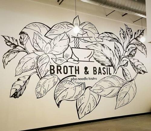 Murals by Sarah J Blankenship seen at Broth & Basil Pho Noodle Bistro, Pflugerville - Broth & Basil Restaurant Murals
