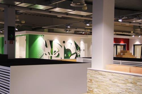 "Murals by Semor the mad one seen at Henrich Baustoffzentrum GmbH & Co. KG, Siegburg - Interior design exhibition area ""tiles / bathrooms / floors"""