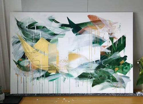 Paintings by Lotta Sirén seen at Private Residence, Espoo - A little party never killed nobody