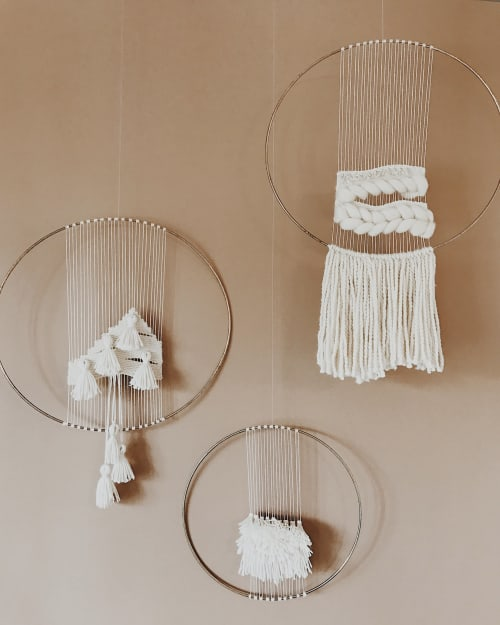 Wall Hangings by Tiffany Lusteg (Kindred + Copper) seen at Pigment, San Diego - Brass Hoop Weavings
