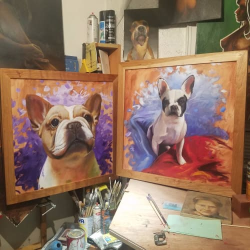 Paintings by Art by Boris seen at Private Residence, Brooklyn - French bulldogs in Oil