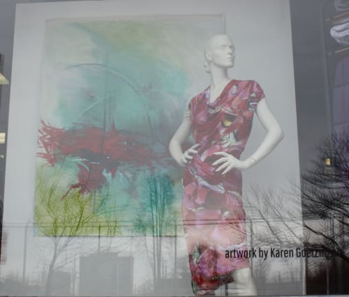 "Paintings by Karen Goetzinger seen at Darrell Thomas Textiles, Ottawa - ""Waking Sounds"" - Display windows Darrell Thomas Textiles"