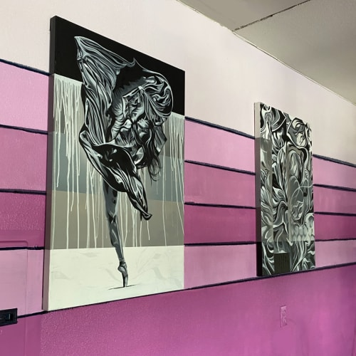 Murals by Trent Thompson seen at Private Residence, Livermore - Pink Fabrics