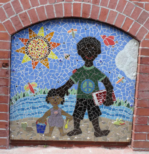 Public Mosaics by Carol Krentzman seen at Court Street, Natick - As Trees Give Life to their Branches