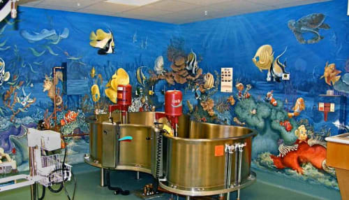 Murals by Gayle Mangan Kassal seen at Children's National Medical Center, Washington - Pediatric Emergency Trama & Burn Services Treatment Room