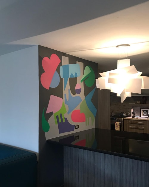 Murals by Holey Kids seen at Private Residence, Oklahoma City - Interior murals