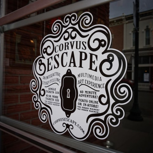 Signage by Ovierre seen at Corvus Clothing and Curiosities, Salida - Window Vinyl Sign