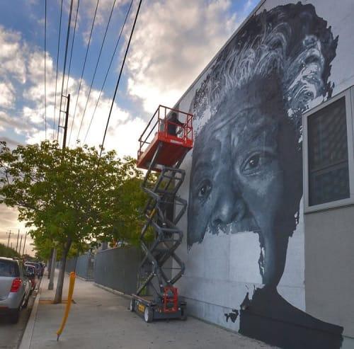 Street Murals by Shawn Michael Warren seen at Dr. Maya Angelou Community High School, Los Angeles - Dr. Maya Angelou