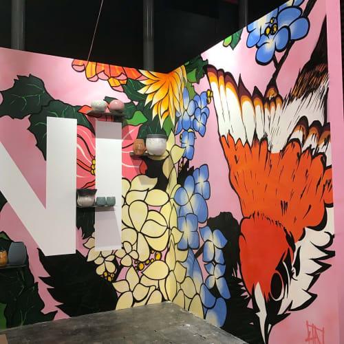 Murals by Time Dobbs seen at Maison&Objet Paris, Villepinte - Fauna & Flora wall