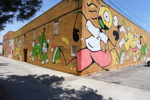 "Street Murals by Jason Keam seen at Expo Arts Center, Long Beach - ""Education at play"""