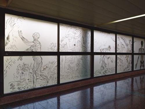 Murals by Jossef Krispel seen at Meir Medical Center, Kefar Sava - Glass wall mural