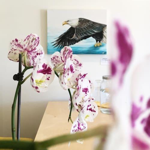 Paintings by Lisa Joan seen at Coastal Coworking, Courtenay - Eagle