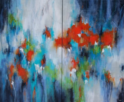 "Paintings by Christina Doelling, Abstract Artist seen at Private Residence, Roswell - ""Garden in Bloom"" 