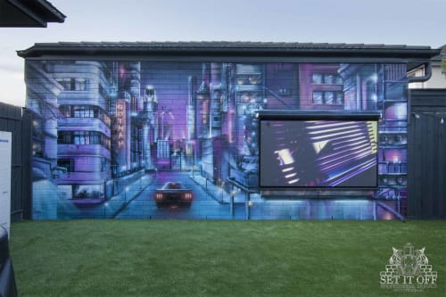 Murals by Set It Off Murals seen at Private Residence, Bonbeach - Cityscape Mural X Outdoor Cinema