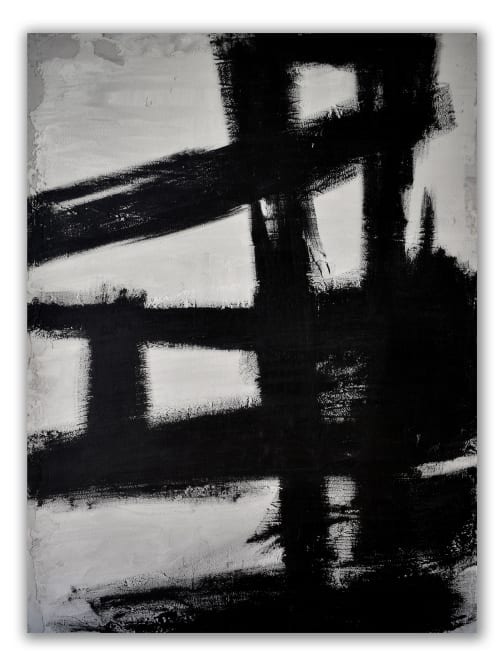 "Paintings by Nicolette Atelier seen at Private Residence - ""Concrete No. 3 Black Kline"""