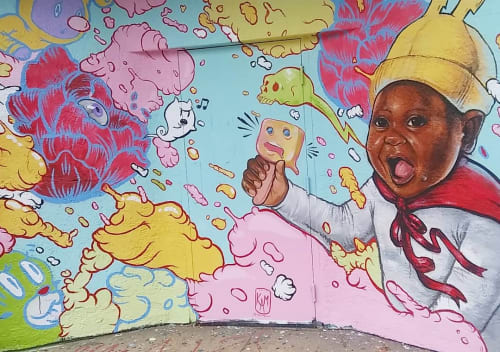 Street Murals by Kayla May seen at Family Thrift Store, Chicago - Toddler's Mural