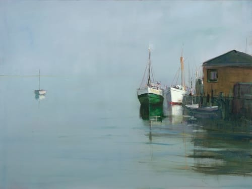 "Art & Wall Decor by YJ Contemporary seen at East Greenwich, East Greenwich - Anne Packard ""Boats At Wharf"""
