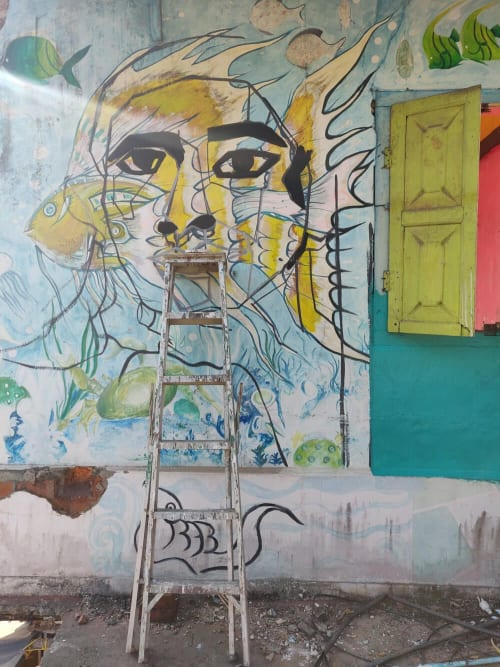 Murals by Aravani Art Project seen at Kochi, Kochi - How private is the public bathroom