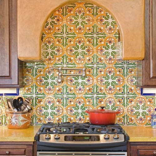 Tiles by Avente Tile seen at Private Residence, San Diego - San Jose hand painted Ceramic Tile