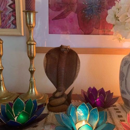 Sculptures by Storytellers Workshop seen at Alexandra Felgate's Home, Adelaide - Carved Wood Cobra