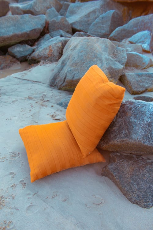 Pillows by bläanks seen at Private Residence, Malibu - Sustainably Made to Order Knitted Jumbo Pillow in Copper