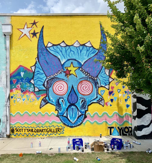Murals by Scott Taylor seen at 860 E Admiral Blvd, Tulsa - TriceraTRIP