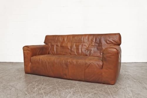 Couches & Sofas by Amsterdam Modern seen at Private Residence, Los Angeles - HANDSOME GERARD VAN DEN BERG BROWN LEATHER SOFA