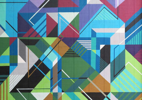 Murals by MATT W. MOORE seen at Private Residence, Boston - MWM Isometric.